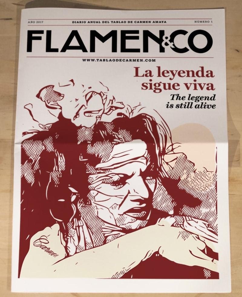 Portada del diseño de periódico Flamenco del Tablao de Carmen diseñado por Pedro Franquet