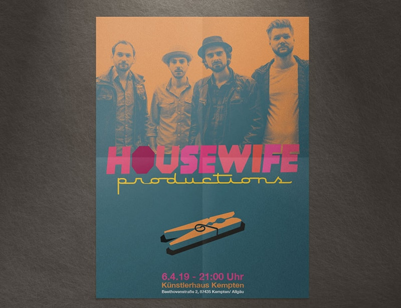 Poster para concierto del grupo Housewife Productions